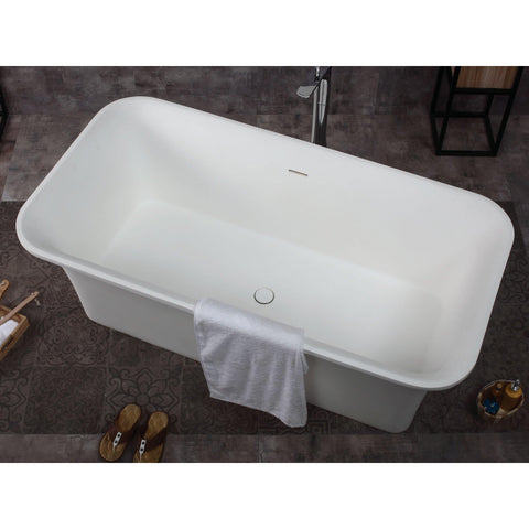 "ALFI brand 67"" White Rectangular Solid Surface Smooth Resin Soaking Bathtub - AB9942 - Oceanviewcity"