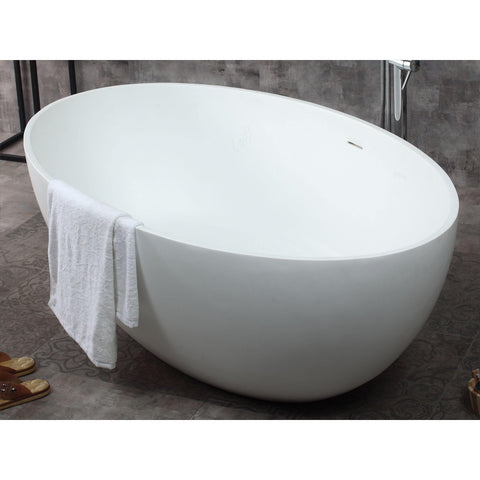 "ALFI brand 67"" White Oval Solid Surface Smooth Resin Soaking Bathtub - AB9941 - Oceanviewcity"