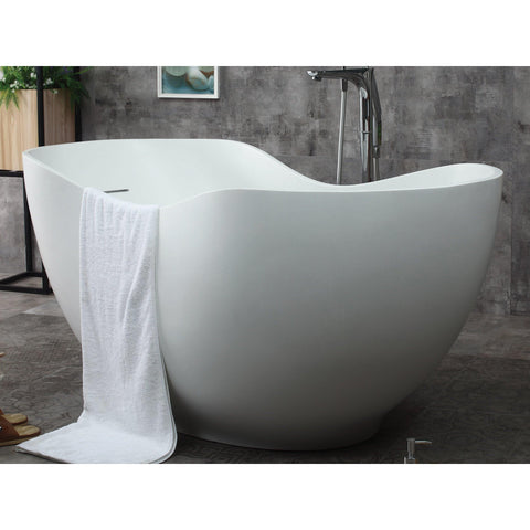 "Image of ALFI brand 66"" White Solid Surface Smooth Resin Soaking Bathtub - AB9949 - Oceanviewcity"