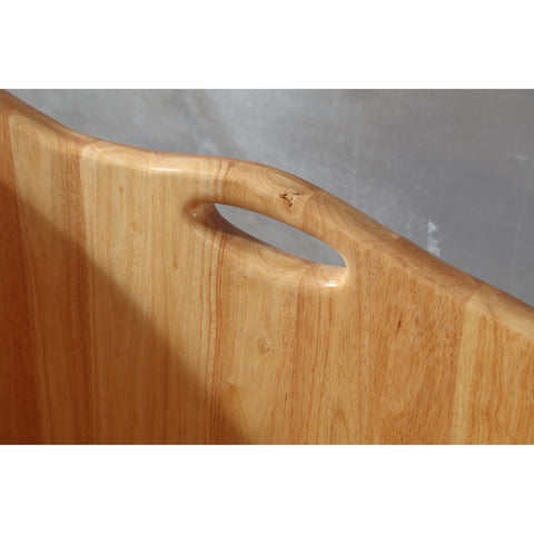 "Image of ALFI brand 57"" Free Standing Rubber Wooden Soaking Bathtub with Headrest - AB1187"
