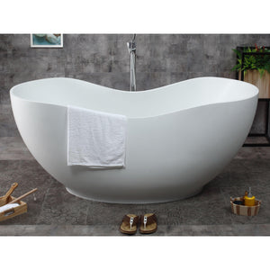 "ALFI brand 66"" White Solid Surface Smooth Resin Soaking Bathtub - AB9949 - Oceanviewcity"