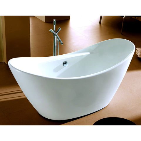 Image of ALFI brand 68 inch White Oval Acrylic Free Standing Soaking Bathtub - AB8803