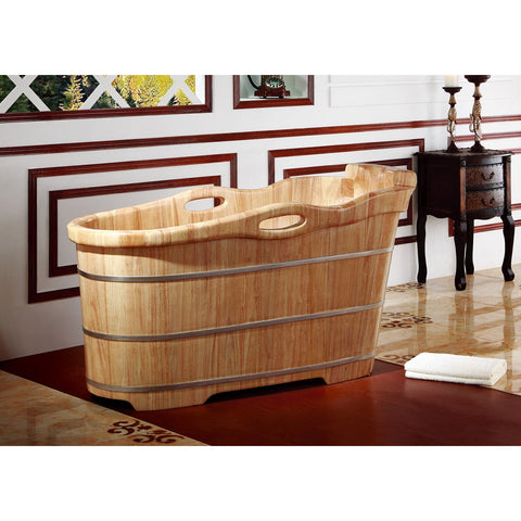 "ALFI brand 57"" Free Standing Rubber Wooden Soaking Bathtub with Headrest - AB1187"