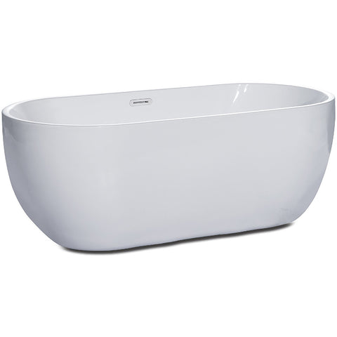 Image of ALFI brand 67 inch White Oval Acrylic Free Standing Soaking Bathtub - AB8839