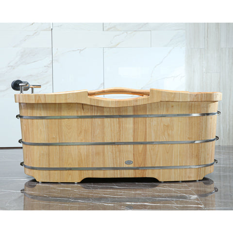 "Image of ALFI brand 61"" Free Standing Wooden Bathtub with Cushion Headrest - AB1163"