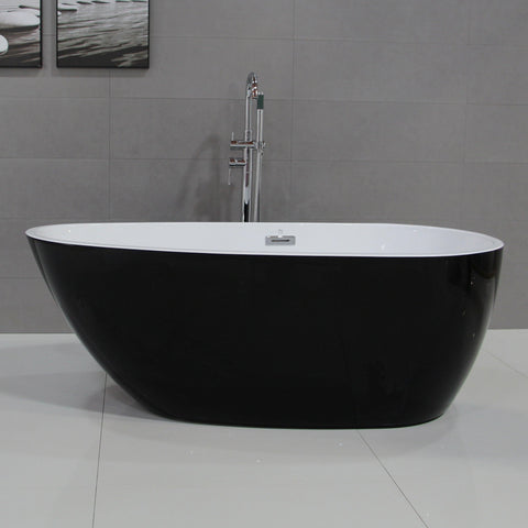 Image of ALFI brand 59 inch Black & White Oval Acrylic Free Standing Soaking Bathtub - AB8862 - Oceanviewcity