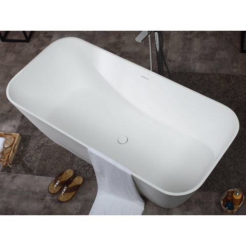 "ALFI brand 67"" White Rectangular Solid Surface Smooth Resin Soaking Bathtub - AB9952 - Oceanviewcity"