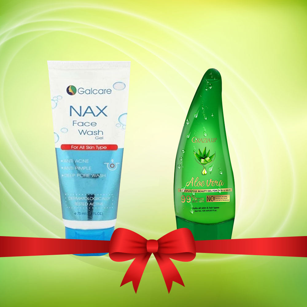 NAX Face Wash + Grazia Up Aloe Vera Gel