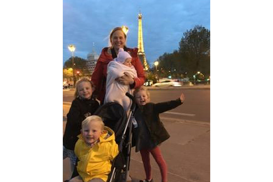 Hillary McCoy with kids in Paris