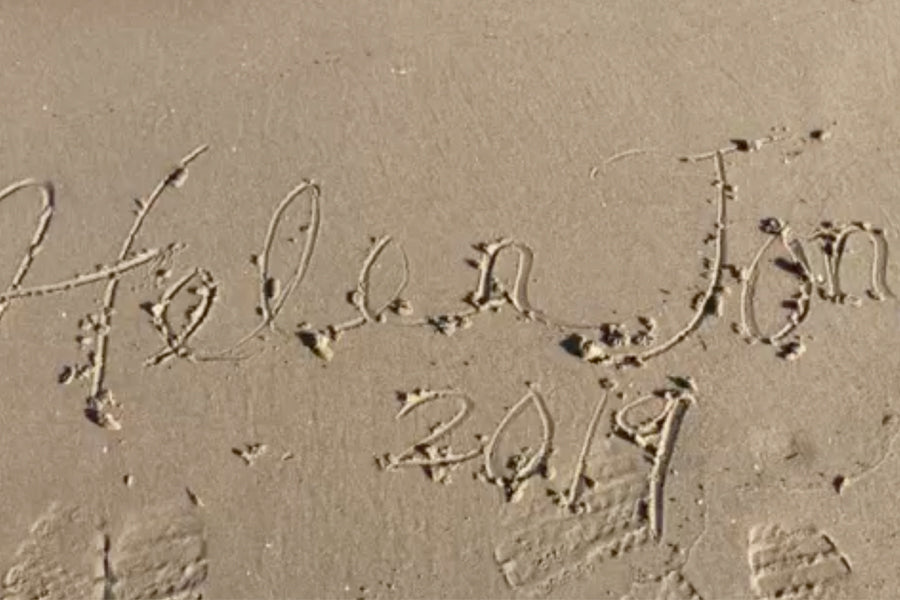 Helen Jon 2019 written in sand