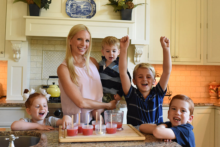 Liza Huber with kids