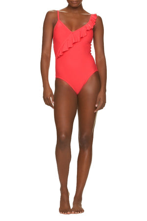 DRAPER JAMES X HELEN JON RUFFLE WRAP ONE-PIECE-GINGER