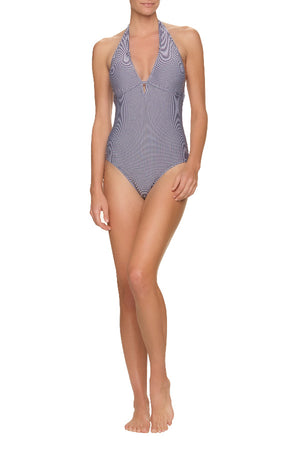 DRAPER JAMES X HELEN JON KEYHOLE ONE-PIECE-NAVY GINGHAM
