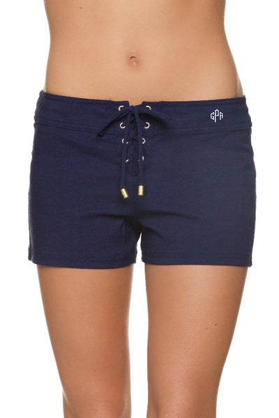 "3"" LACE UP BOARD SHORT - NAVY - monogram"