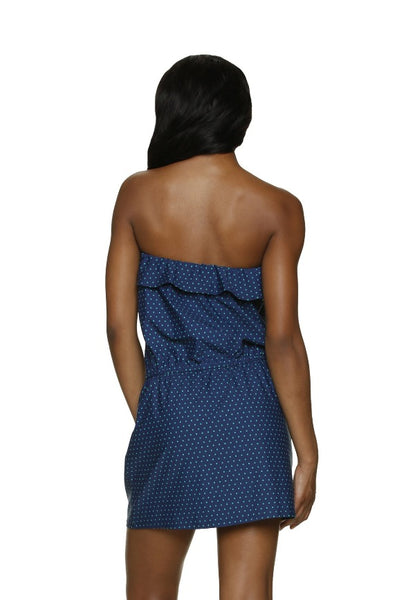 DRAPER JAMES ❤️ HELEN JON RUFFLE POOLSIDE DRESS-PETITE DOT