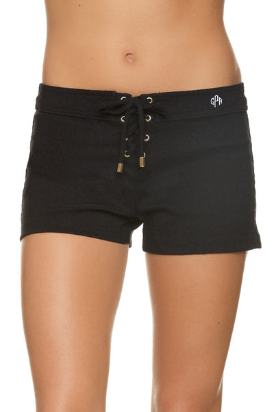 "3"" LACE-UP BOARD SHORT - BLACK - Monogram"