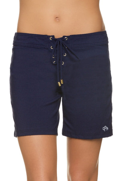 "7"" LACE-UP BOARD SHORT - NAVY - monogram"