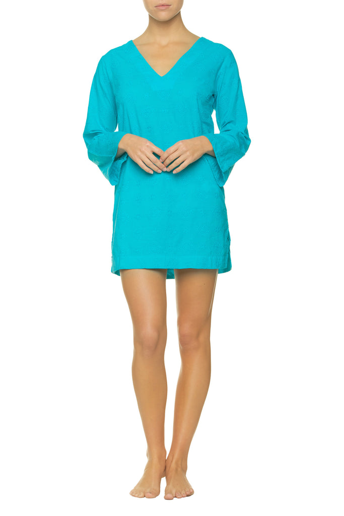 EMBROIDERED V-NECK TUNIC-PEACOCK_Front_Helen Jon