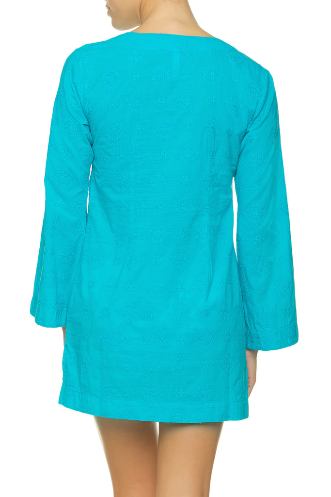 EMBROIDERED V-NECK TUNIC-PEACOCK_Back Zoom_Helen Jon