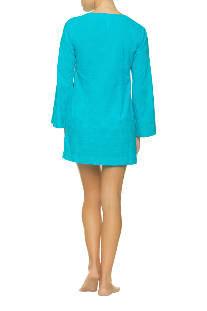 EMBROIDERED V-NECK TUNIC-PEACOCK_Back_Helen Jon