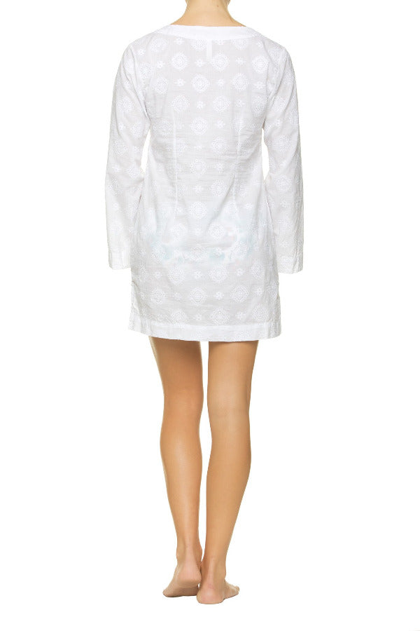 EMBROIDERED V-NECK TUNIC-WHITE