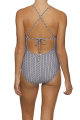 TIE BACK ONE-PIECE-BLACK-WHITE