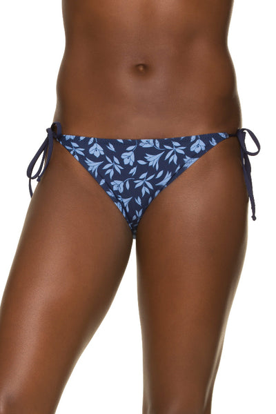 STRING BIKINI BOTTOM-CUT OUT FLORAL