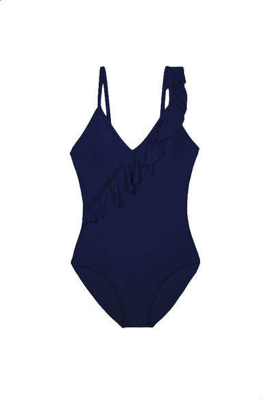 RUFFLE FRONT ONE-PIECE-NAVY