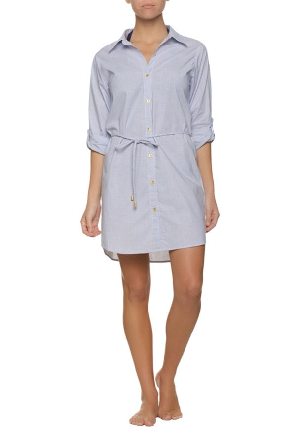 SHIRT DRESS-MARINA STRIPE