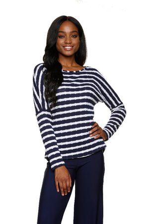 BEACH SWEATER-NAVY WHITE