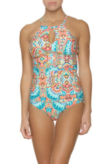 HIGH NECK TANKINI-OASIS PRINT