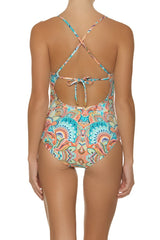 TIE BACK ONE-PIECE-OASIS PRINT