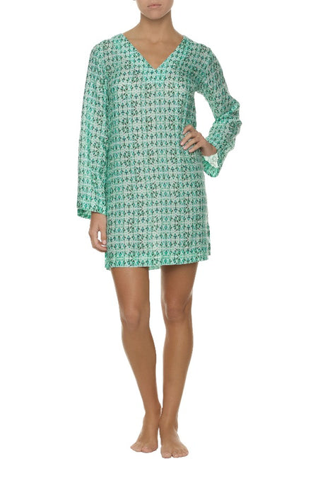 PRINTED COTTON SILK TUNIC-ESTRADA