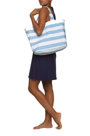 Blue and White Striped Tote