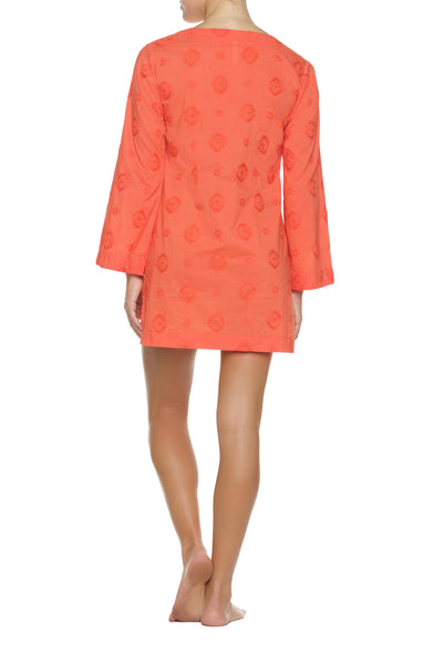 EMBROIDERED V-NECK TUNIC-CORAL