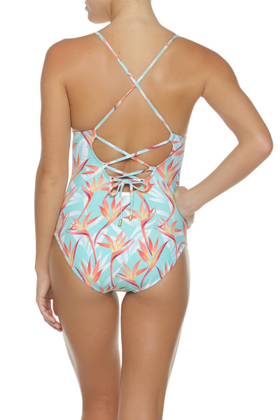 LATTICE BACK ONE-PIECE-FIRE ISLAND