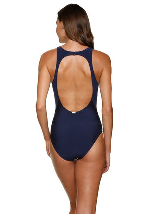 HIGH NECK ONE-PIECE-NAVY