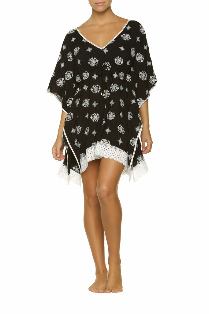 EMBROIDERED CAFTAN-BLACK