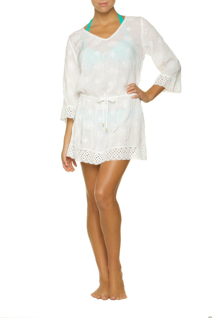 EMBROIDERED DRESS-WHITE