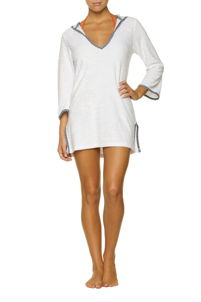 HOODED TERRY COVER-UP-WHITE SANDS
