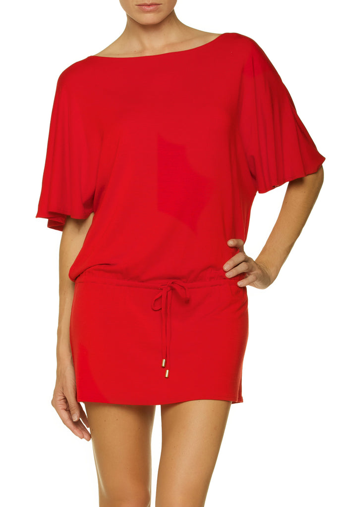 BOATNECK TUNIC-DEL MAR CRIMSON