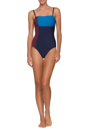 COLORBLOCK BANDEAU ONE-PIECE-LA PLAGE