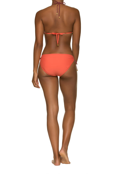 REVERSIBLE STRING BIKINI TOP WITH BRAID-CORAL