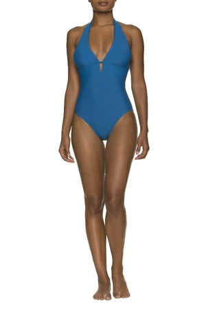 SCALLOPED KEY HOLE ONE-PIECE-CARIBBEAN