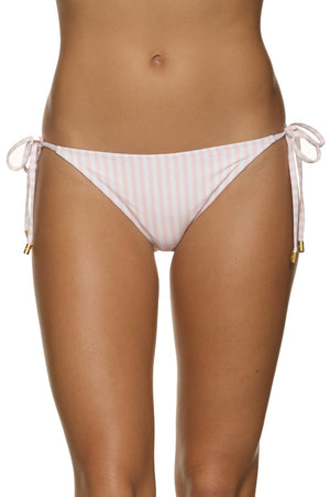 STRING BIKINI BOTTOM-PINK AND WHITE STRIPE