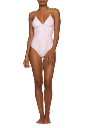 LATTICE BACK ONE-PINK AND WHITE STRIPE