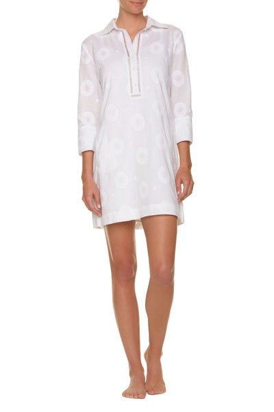 EMBROIDERED ESSENTIAL SHIRT DRESS-WHITE