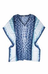 HAND DYED CAFTAN-NAVY WHITE