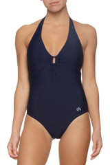 PLUNGE TORTOISE ONE-PIECE- NAVY - MONOGRAM