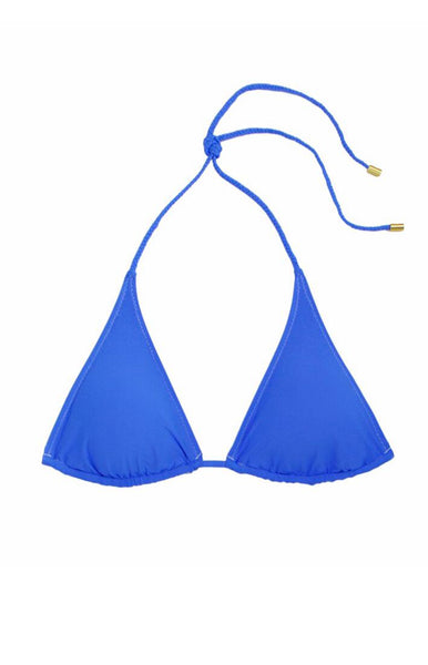 REVERSIBLE STRING BIKINI TOP WITH BRAID-PACIFIC BLUE